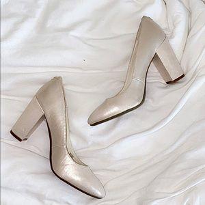 Aklonnie Metallic Chunky Block Heels - Blush